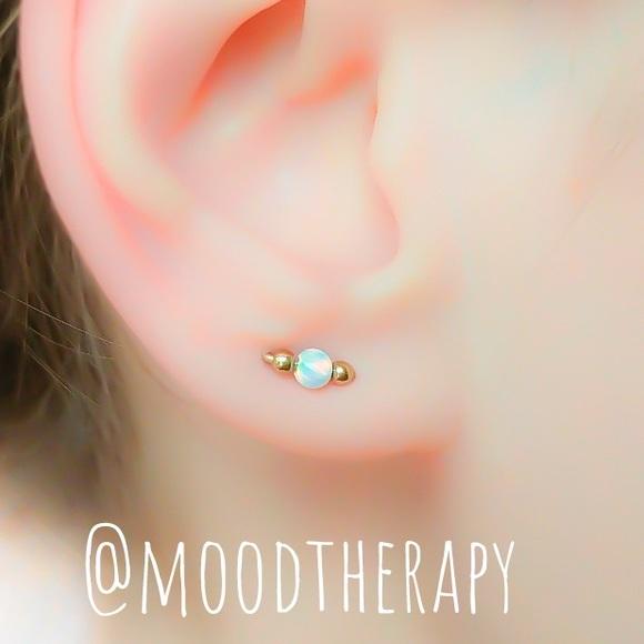 Fire Opal Orbital Stud Earrings for 2 Piercings